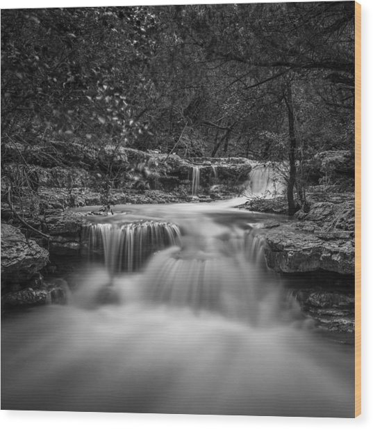 Waterfall In Austin Texas - Square Wood Print
