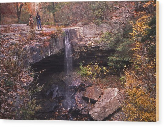 Waterfall In Fall - 1 Wood Print by Randy Muir
