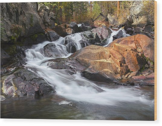 Waterfall In Lee Vining Canyon 2 Wood Print