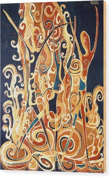 Waterfall Of A Golden Rain Wood Print by Aliza Souleyeva-Alexander