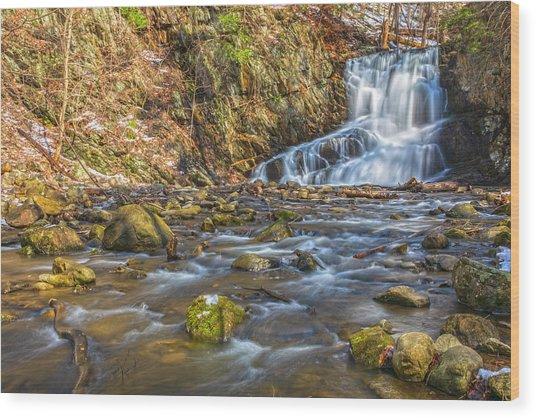 Waterfall Of April Snow Wood Print