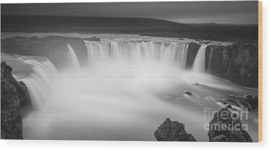 Waterfall Of The Gods Iceland Wood Print