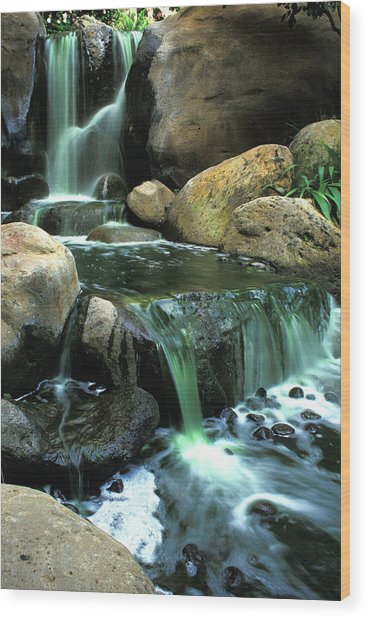 Waterfall On Maui Wood Print by Carl Purcell