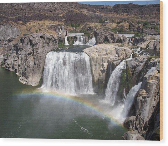 Waterfall Rainbow Wood Print by Ty Nichols