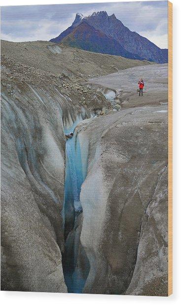 Waterfall Root Glacier Wood Print