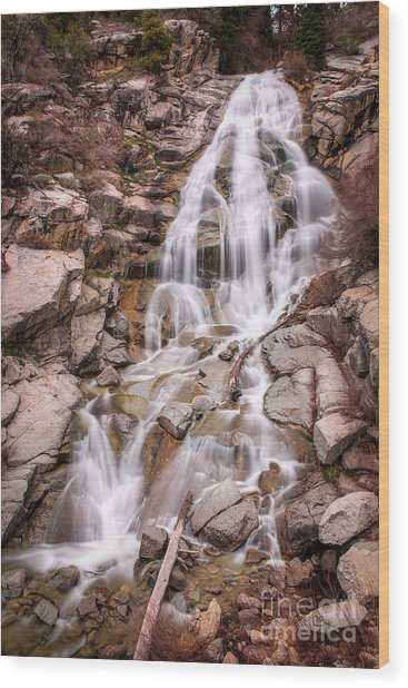 Wood Print featuring the photograph Horsetail Falls by Spencer Baugh
