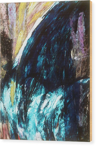 Waterfall Wood Print by Sue Reed