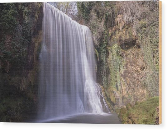 Waterfall With The Silk Effect Wood Print
