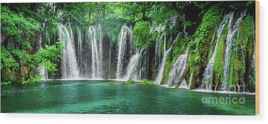 Waterfalls Panorama - Plitvice Lakes National Park Croatia Wood Print
