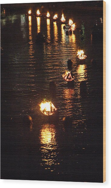 Waterfire Lights Wood Print