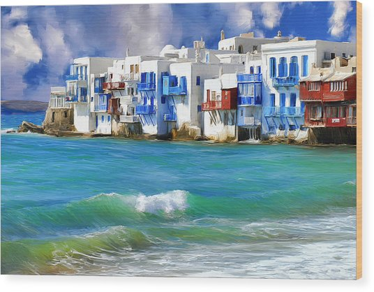 Waterfront At Mykonos Wood Print