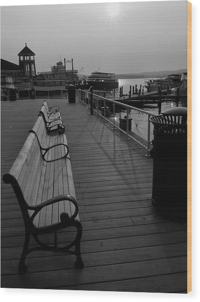 Waterfront Benches II Wood Print