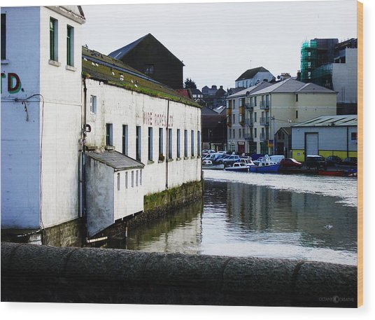 Waterfront Factory Wood Print