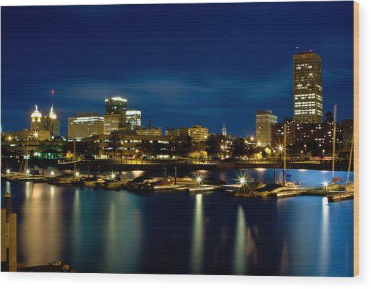 Waterfront Lights Wood Print