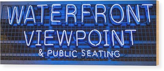 Waterfront Neon Pike Place Market Seattle Wood Print
