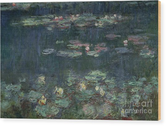 Waterlilies Green Reflections Wood Print