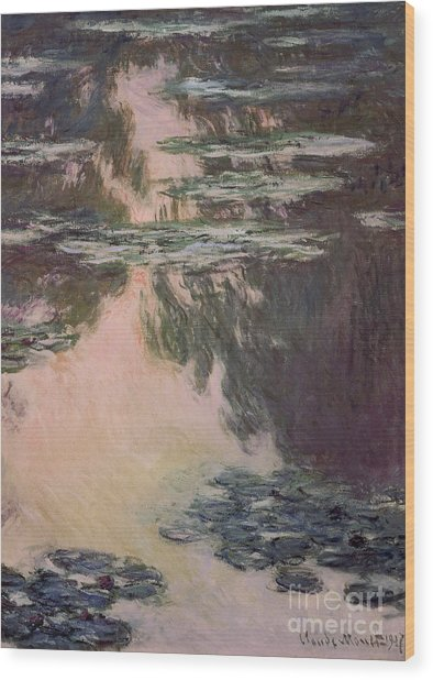 Waterlilies With Weeping Willows Wood Print