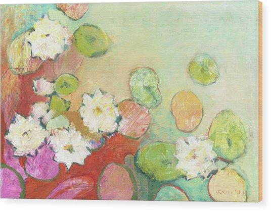 Waterlillies At Dusk No 2 Wood Print