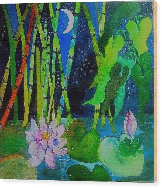 Waterlillies At Midnight Wood Print