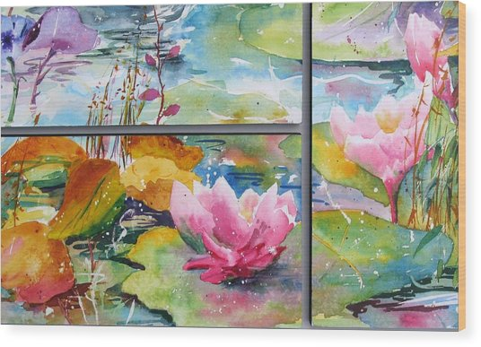 Waterlillies Triptych Wood Print