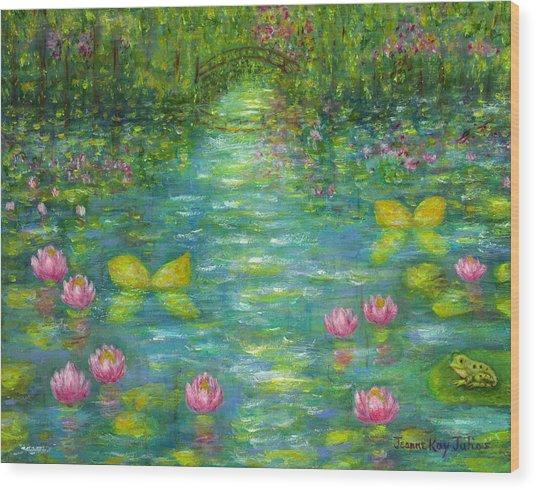 Waterlily Butterflies Wood Print