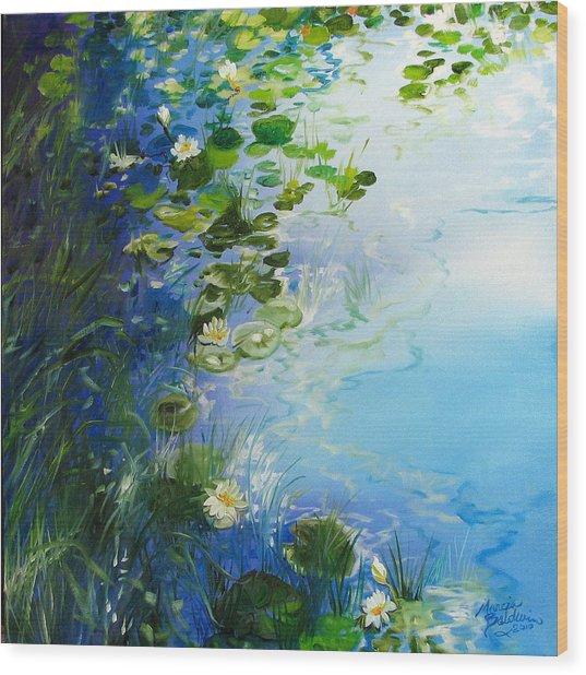 Waterlily Landscape Wood Print by Marcia Baldwin