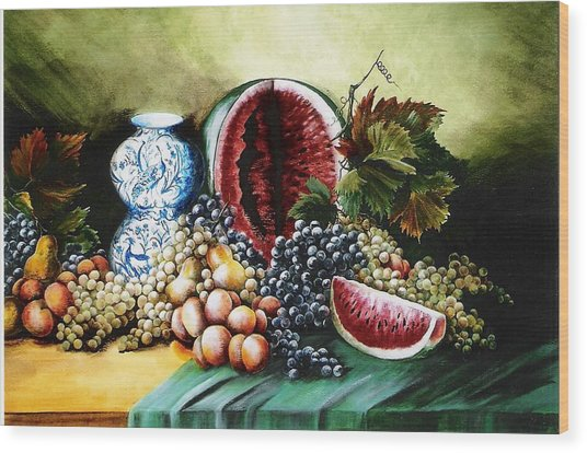 Watermelon With Blue Delft Jar Wood Print