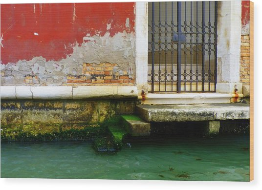 Water's Edge In Venice Wood Print