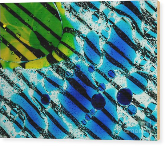 Waterscape Crystal Blue And Yellow Wood Print