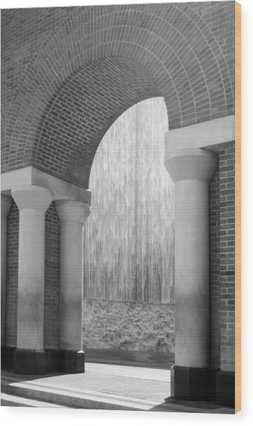 Waterwall And Arch 3 In Black And White Wood Print