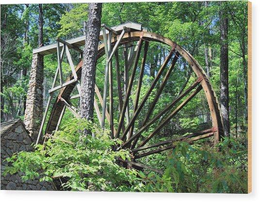 Waterwheel Wood Print by Johann Todesengel