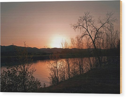 Watson Lake At Sunset Wood Print