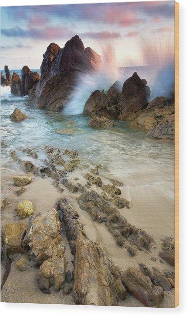 Wave Breaker  Wood Print