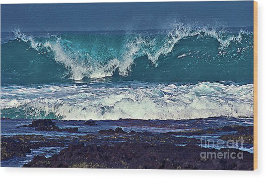 Wave Breaking On Lava Rock 2 Wood Print