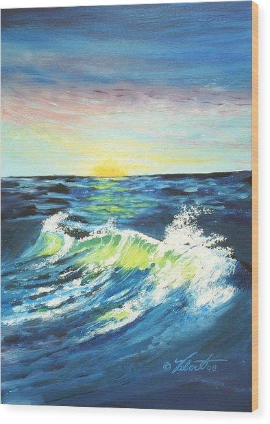 Wave By Early Light Wood Print by Dennis Vebert