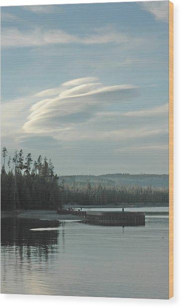 Wave Clouds Over Yellowstone Lake Wood Print by Deni Dismachek