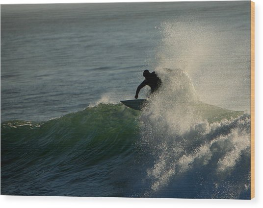 Waverider Wood Print by Mike Coverdale
