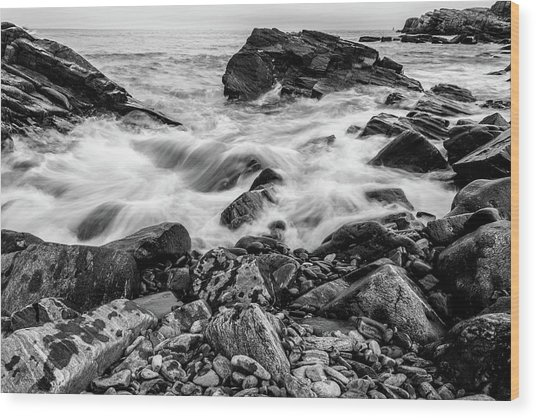 Waves Against A Rocky Shore In Bw Wood Print