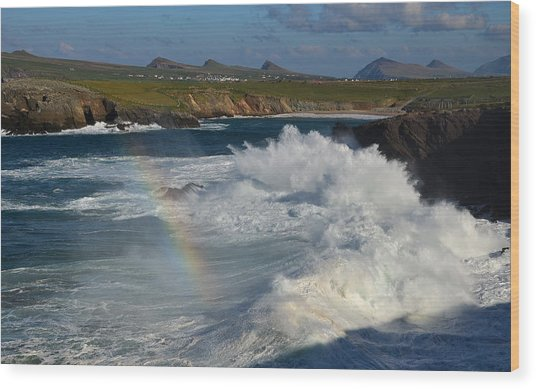 Waves And Rainbow At Clogher Wood Print