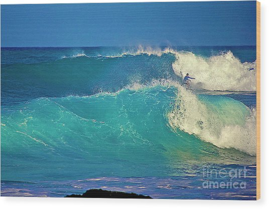 Waves And Surfer In Morning Light Wood Print