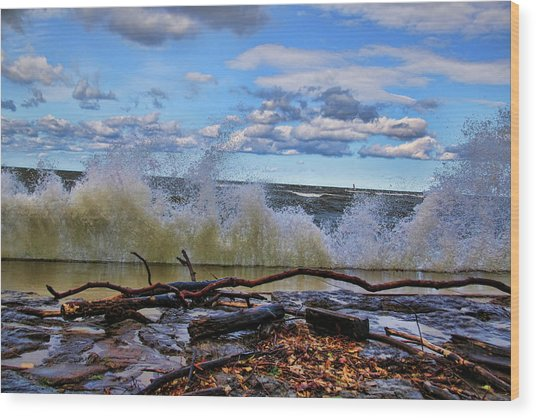 Waves And Wind On A Fall Day Wood Print