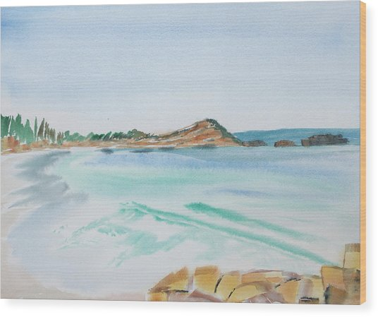 Waves Arriving Ashore In A Tasmanian East Coast Bay Wood Print