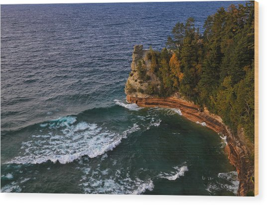 Waves At Miners Castle Wood Print