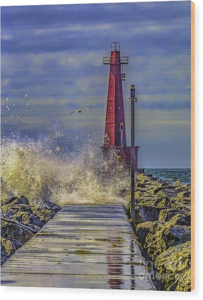 Waves At Muskegon South Breakwater Wood Print