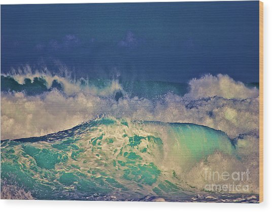 Waves Breaking Wood Print