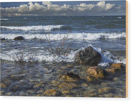 Waves Crashing Ashore At Northport Point On Lake Michigan Wood Print