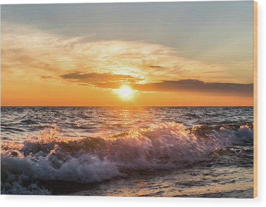 Waves Crashing With Suset Wood Print
