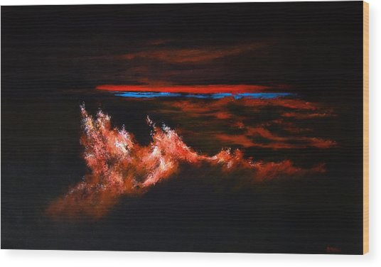 Waves Wood Print by DEVARAJ DanielFranco