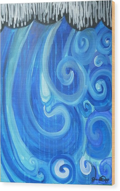 Wood Print featuring the painting Waves Graffiti By Janelle Dey by Janelle Dey