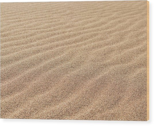 Waves In The Sand Wood Print